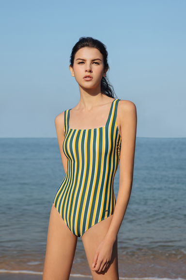 Pinstripe Swimsuit - Yellow