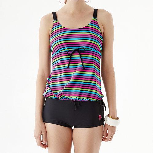 Kissin' Rainbow Stripes Underwire Tankini