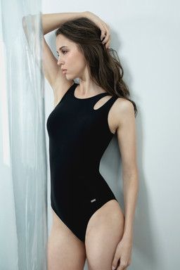 Peek-A-Boo Swimsuit - BLACK