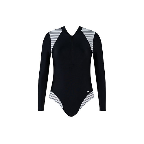 Monostripe Long Sleeve Swimsuit