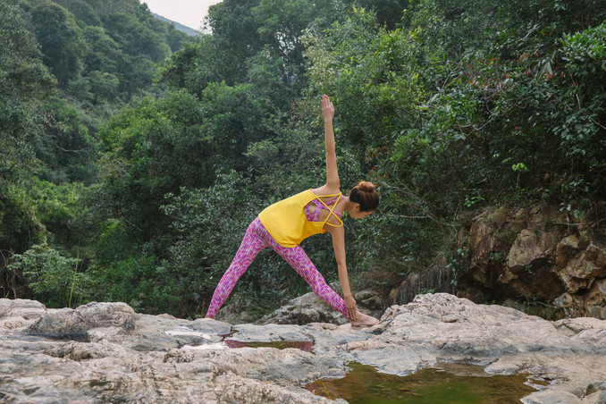 Lattice Top - Yellow & Florescence Bra Top & Legging - Pink