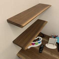 Live Edge Walnut Shelves & Desk