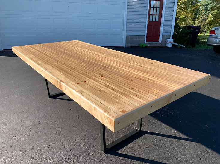 Repurposed Bowling Alley Table with Dots, Maple Trim & Steel Legs