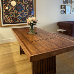 Bowling Alley Table with arrows, mortis and tenon legs