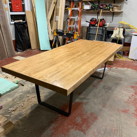 Bowling Alley Table stained dark