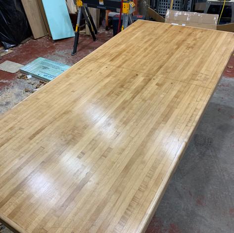 Semi-gloss polyurethane on Bowling Alley Table