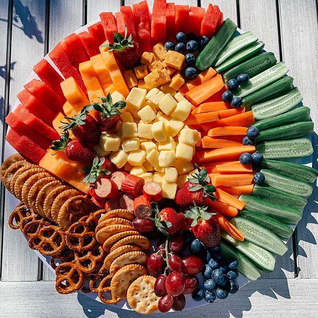 Healthy(ish) kids platter 🍓🍉🥨🥕🥒 • b