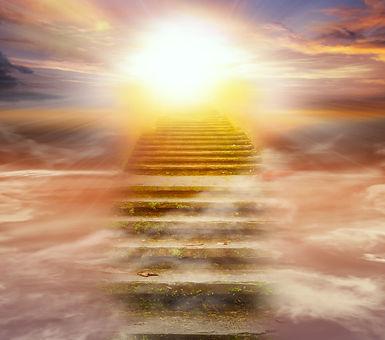 Light in dark sky . Stairs in sky .  Rel