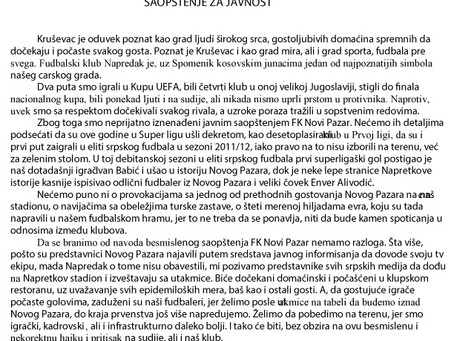 SAOPŠTENJE FK NAPREDAK POVODOM SUTRAŠNJE UTAKMICE SA FK NOVI PAZAR PRENOSIMO U CELOSTI