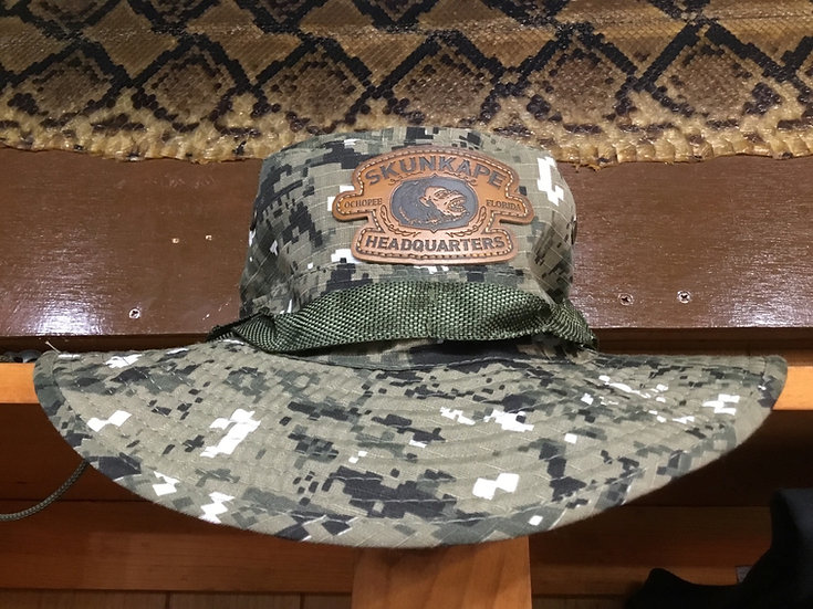 DIGITAL CAMO BUCKET HAT WITH LEATHER PATCH
