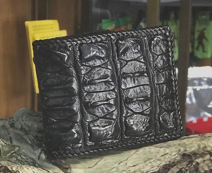 Alligator hornback bi-fold wallet