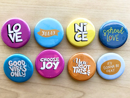 Good Vibes Set Pin Badges & Magnets
