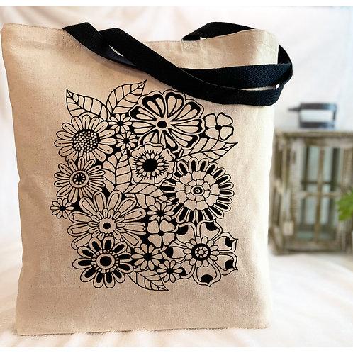 Flower Doodle Canvas Tote Bag