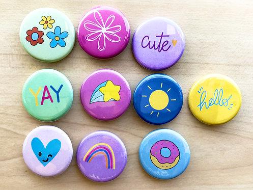 Fun Set Pin Badges & Magnets