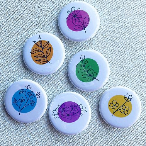Flower Pin Badges & Magnets