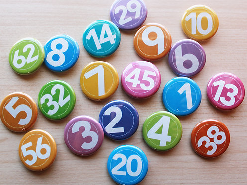 Number Circled  Pin Badges & Magnets