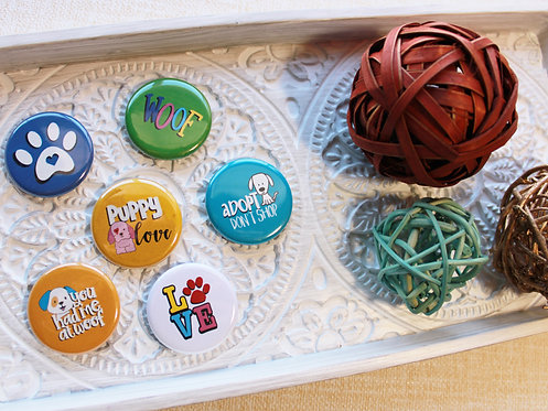 Puppy Love Pin Badge & Magnets
