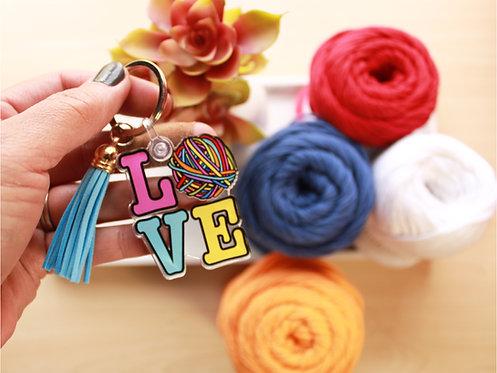 LOVE Yarn Keychain