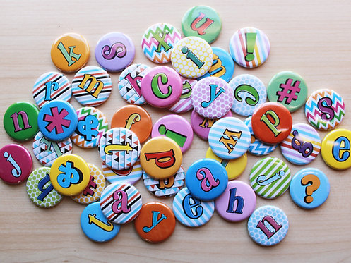 Alphabet Letter Pin Badges