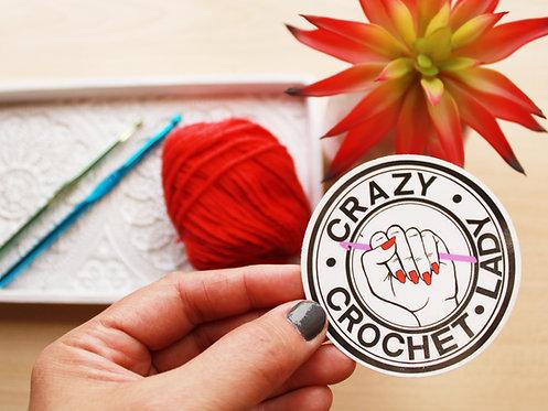 Crazy Crochet/Knit Lady Sticker