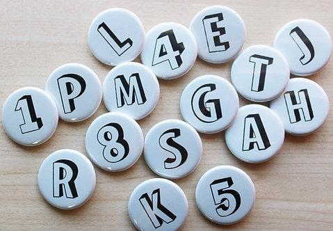 Alphabet Shadow Letter Badges & Magnets