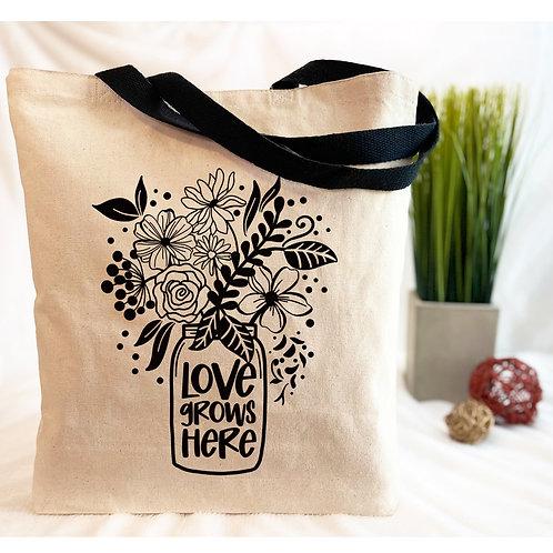 Mason Jar of Flowers - Love Grows Here