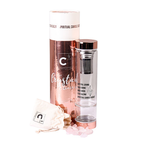 ROSE GOLD H2Glow Crystal Drink Bottle (Rose Quartz)