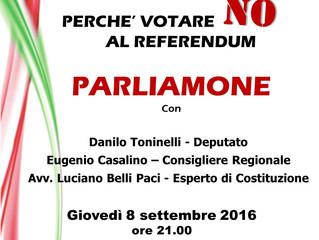 Giovedì 8 settembre 2016 - Perché votare NO al referendum costituzionale