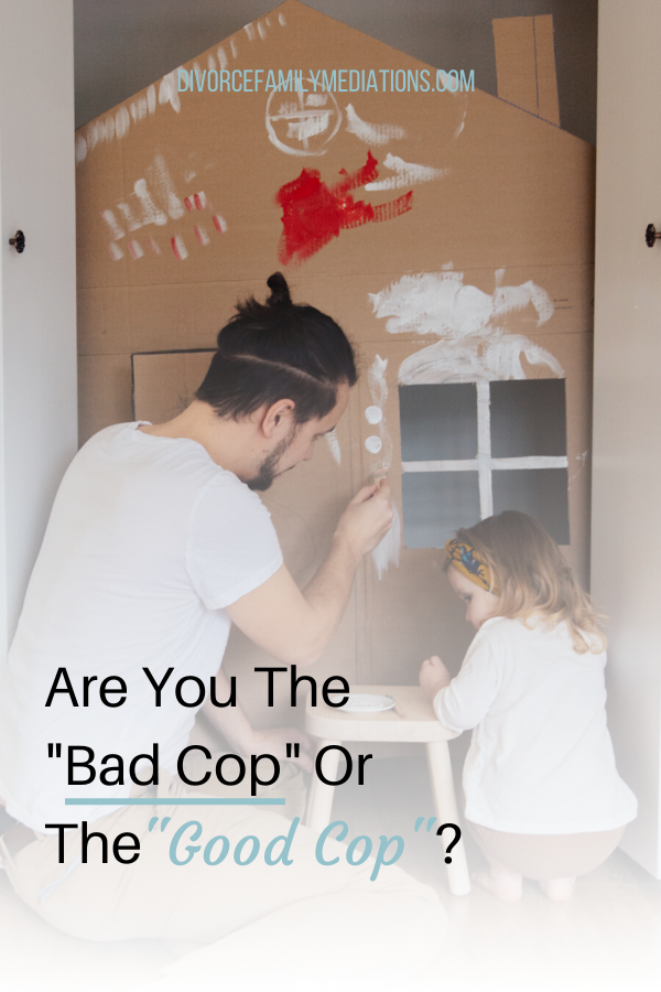 Are you and your co-parent always playing different role? Discover how to find alignment so one parent is labeled good and the other one bad? #coparenting #parenting #divorce #positiveparenting