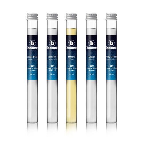Proeverij Belgische Premium Gin, Geschenkbox 5 x 30 ml. EDITIE 1