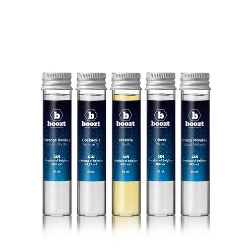 Proeverij Belgische Premium Gin, Geschenkbox 5 x 50 ml. EDITIE 1