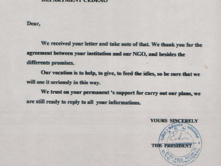 "Accordo di Parterariato U.C.E.E. / Ong A D N ""Aider - Donner - Nourrir"" Abidjan ( Cote d'Ivoire )"