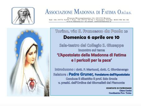 """Convegno sul tema """"L'Apostolato della Madonna di Fatima e i pericoli per la Pace""""."""
