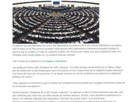 "PETITION ""European organizations petition the parliament for next step to federal union"""