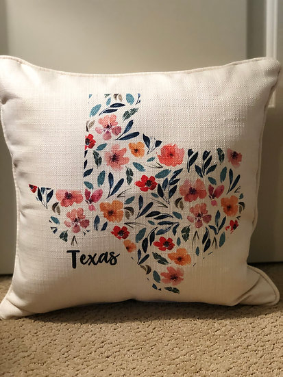 Texas Floral Filled Pillow
