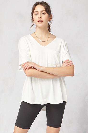 On The Lookout Off White Pocket Top