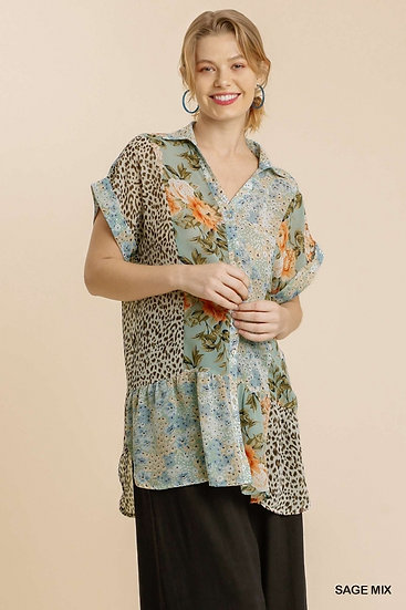 Feeling Compelled Sage Mixed Print Top