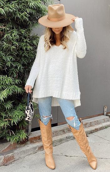 Hug Me Sweater - White Fuzzy Knit  (Show Me Your Mumu)