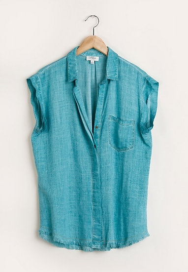 Full Of Ideas Jade Green Button Down Top