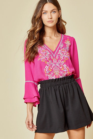 Better Believe Hot Pink Embroidered Top