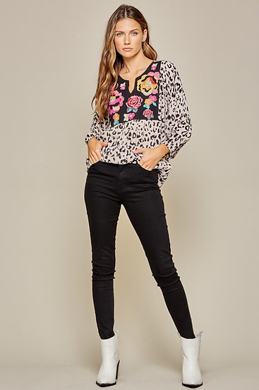 Leopard Embroidered Long Sleeve Top With Gathered Sleeve Detail