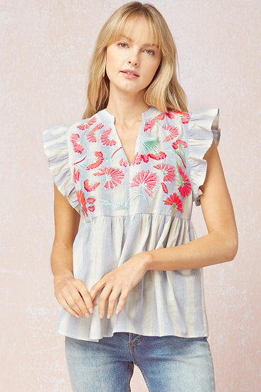 Get Inspired Blue & White Stripe Embroidered Top