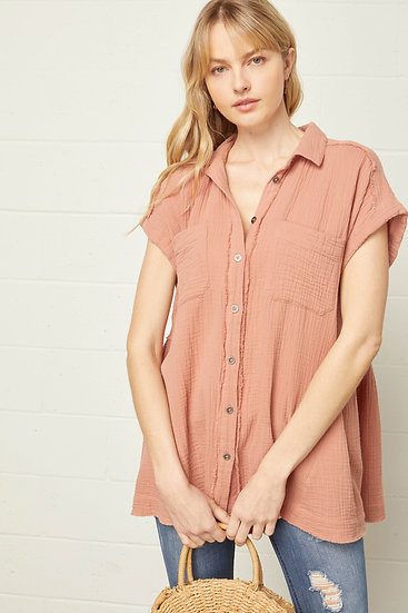 Back To Basics Terra Cotta Button Up Top