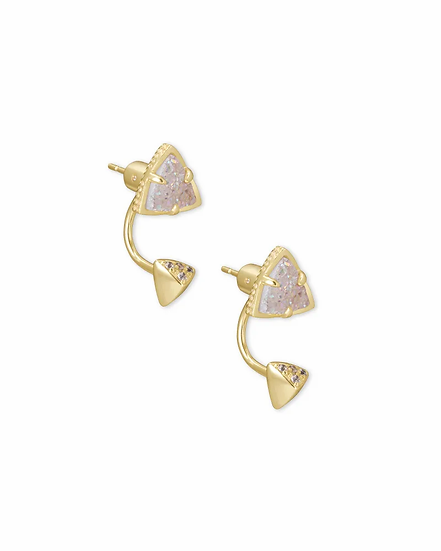 Perry Gold Ear Jacket Earrings In Iridescent Drusy