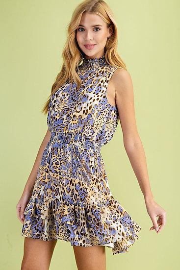 Look This Way Blue Snake Print Dress