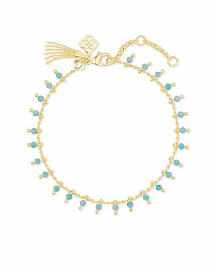Jenna Gold Delicate Chain Bracelet In Teal Amazonite