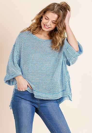 Blue High Low Waffle Knit Top with Cuffed 3/4 Sleeves and Side Slits