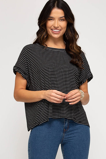 Just For You Black Striped Top