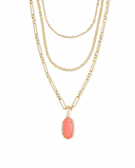 Elisa Gold Triple Strand Necklace In Coral Illusion