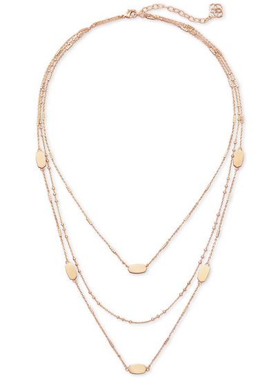 Fern Triple Strand Necklace In Rose Gold